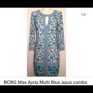 BCBGMAXAZRIA MULTI COLOR BLUE AQUA COMBO DRESS